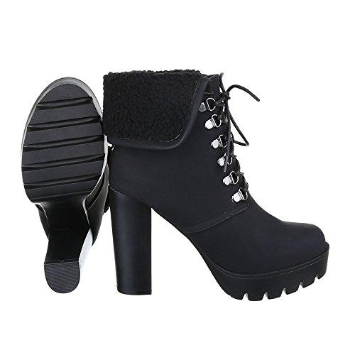 Schnürboots Damen Schuhe Combat Boots Pump Schnürer Schnürsenkel Ital-Design Stiefeletten Schwarz
