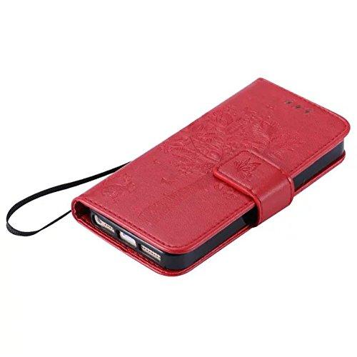 DaYiYang Case Cover IPhone 5 5S SE Fall, einfarbig Premium PU-Leder Etui-Muster-Flip-Standplatz Fall-Abdeckung mit Karte und Bargeldschlitze für iPhone 5 5S SE ( Color : Lavender ) Red