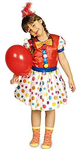 Clown Pünktchen Kostüm für Kinder Gr. 98 104 - Schönes Kostüm für Mädchen zu Karneval, Manege, Zirkus, Kindergeburtstag oder Mottoparty (Kostüme Clown Mädchen)