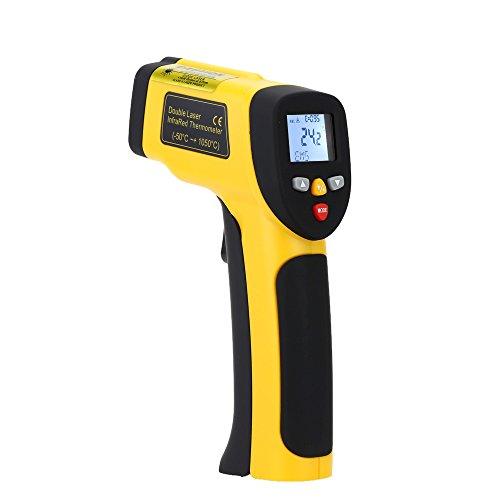 KKmoon -50 ~ 1050 ° C(-58 ~ 1922 ° F) Doppelte Laser Infrarot Thermometer mit LCD Weiße Beleuchtung Anzeige Digital Berührungslose Celsius Fahrenheit Wählbar IR Thermometer Pyrometer Daten Speicher (Ziel Ausrichtung)