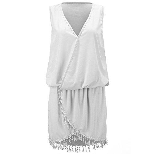 Sommerkleid Highdas Damen Kleid Casual kleid Festlich Partykleid Deep V  Ärmellos Strand Mini Kleider S M L XL Weiß