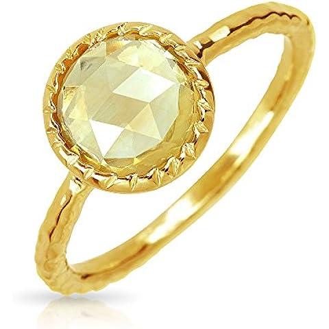 Bling Jewelry Citrino Argento martellato novembre Amuleto Round Anello placcato oro