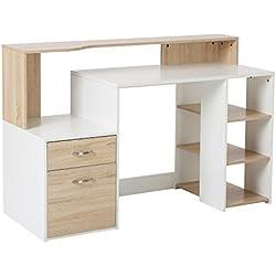 Mesa de Ordenador PC 140x55x92cm Despacho Escritorio Oficina Escuela Estanteria Madera 2 Colores (Negro+Blanco)