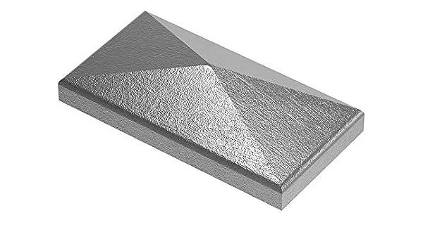 Pfeilerbedecker 100x50 mm Stahl S235JR roh Pfostenkappe für Rechteckrohr Maße
