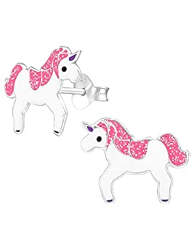 GH1a Pink Glitzer Einhorn Ohrstecker 925 Echt Silber Ohrringe Kinder Mädchen Pferde Emaille