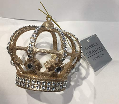 Gisela Graham Eine Goldene Glitzer Krone mit Glitzer Steine zum hängen