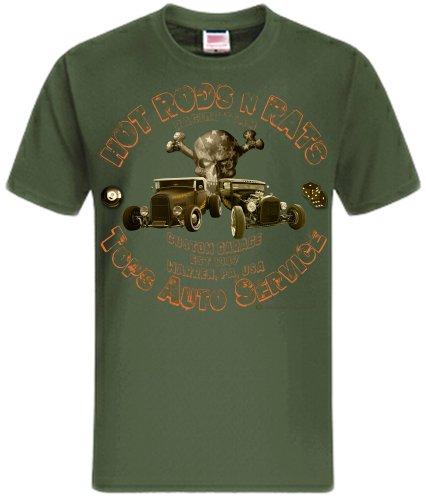 Hot Rods Rat Rods Street Rod Skull US Oldtimer Rockabilly Rodders Shirtmatic Shirt oliv (army)
