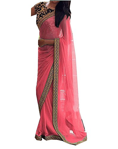 Ruri Enterprise Georgette Saree With Blouse Piece (Re808-B-3_Red_Free Size)