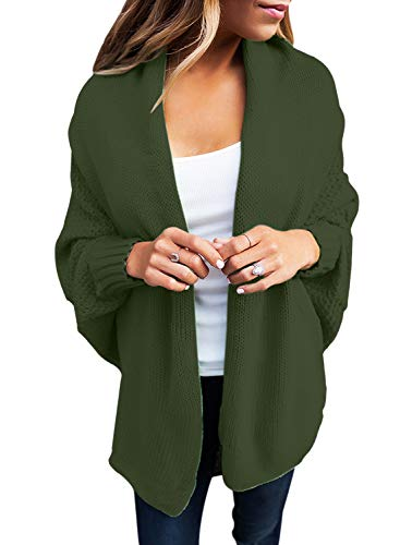 GOSOPIN Damen Strickjacke Frauen Cardigan Loose Winter Lang Strickcardigan, Grün, S