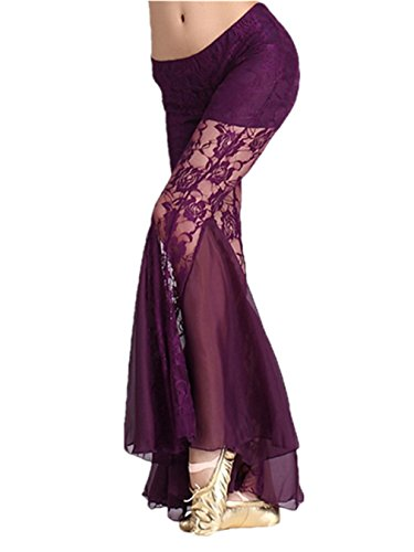 Damens Ladies Bauchtanz Pant Elastic Lace Bell-bottomed Pants Tanzen Costume Dark Purple