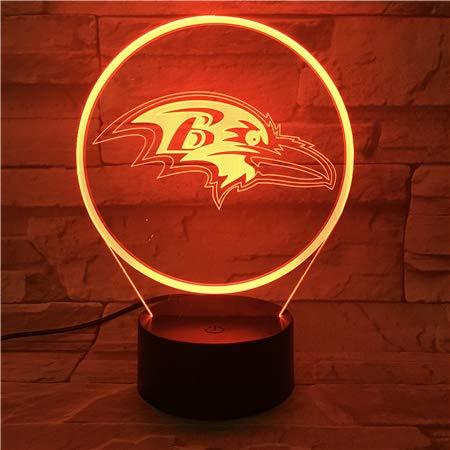 Led Nachtlicht Baltimore Ravens USB RGB Touch Sensor Kinder Kinder Geschenk Neuheit Team Logo American Football Nachtlampe Schlafzimmer (Baltimore Ravens Dekorationen)