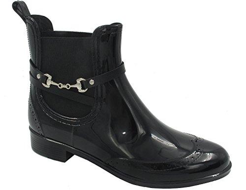 MaxMuxun Chaussures Femme Botte de Pluie En Caoutchouc EU 37-41 Noir avec boucle