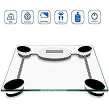TANBURO Pèse Personne électronique 180kg en Verre, Analyseur Corporel, Ecran LCD, Mise en Marche / Arrêt Automatique, Piles Fournies - Transparent