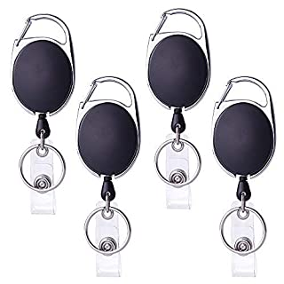 Kuuqa Carabiner Badge Reel with Key Ring for ID Badge (4 Piece, Black)