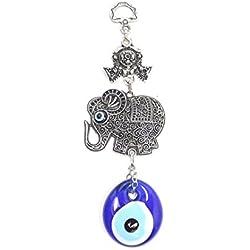 Wanddeko Wandschmuck Deko - Böser Blick Nazar Boncuk Evil Eye - Elefant - Silber blau Glücksbriger blaues Auge