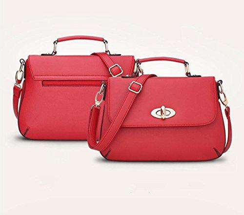 LDMB Damen-handtaschen Frauen PU-lederner einfacher wilder Schulter-Kurier-Handtaschen-feste Farben-leichter Crossbody Beutel-justierbare MultifunktionsTote-Beutel Red