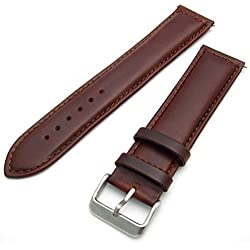 Sorrento Italian Padded Calf Leather XL Extra Long Watch Strap Band - Brown, 24mm with Chrome (Silver Colour) buckle