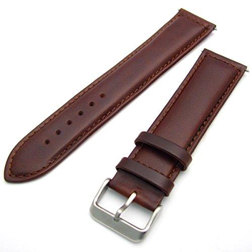 Chrom 18 (Sorrento Italienische Gepolsterte Kalb Leder Uhrenarmband XL Extra Lang Band-Braun, 18mm mit Chrom (Silber Farbe) Schnalle)