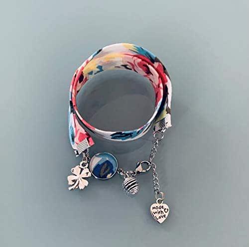 Braccialetto Liberty multicolore, gioiello Liberty, bracciale in tessuto liberty, idea regalo, bracciale profumato, gioiello, bracciale floreale, gioiello Liberty