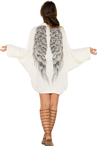 Minetom Femmes Kimono Casual Cardigan Blouse à Manches Longues Wings Beach Cover Up Manteaux One Color