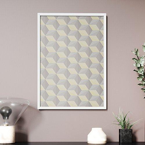 Newroom Design NEWROOM Wandbild 70x50cm Wandposter fertig zum Aufhängen gerahmt Geometrisch Würfel...
