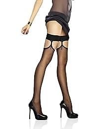 Marilyn schicke, reizvolle, lustige halterlose Strümpfe mit extra Halter im Strumpfband-Look, 20 Denier