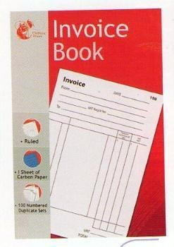 Invoice Duplicate Book - 1 to 100 Numbered Pages - Full Invoice Layout - Size 204mm X 132mm by Chiltern Wove