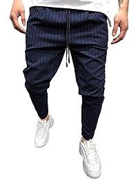 SOMESUN Moda Uomo Pantalone Jogging Sportivo a Maniche Lunghe in Morbido  Allentato Righe Slim Fit Stretti 7e486ad1270