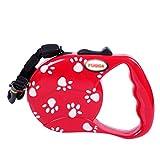 YOUJIA Hund An Leine Nylon, Verstellbar Roll - Hundeleine Für Kleine / Große Hunde (Cord Leine Rot,5M)