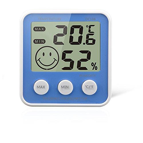 Gellvann Digital LCD Termómetro de Medidor de Humedad Interior Termómetro de Higrómetro Digital Termómetro de Habitación con Stander & Refrigerador Imán de Montaje para Humidificadores Deshumidificadores Invernadero Sótano Babyroom