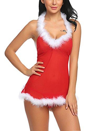 Sexy Nikolaus Kostüm - ADOME Damen Reizwäsche Sexy Weihnachten Dessous