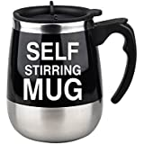 EDTara Stainless Steel Automatic Coffee Mixing Cup With Lid Self Stirring Mug Protein Shaker Smart Mixer Blender Black 401-500ml
