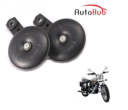 Auto Hub Uno Minda Bike Horn Set For Royal Enfield Bullet Electra - Set of Two (Black)  available at amazon for Rs.499