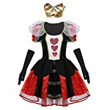 CHICTRY 3 Pcs Donna Costume Regina di Cuori Costume Queen - Halloween Carnevale Ntale Party Queen Red Dress Gioco di Ruolo Costume da Regina Rossa Cosplay Nero Medium