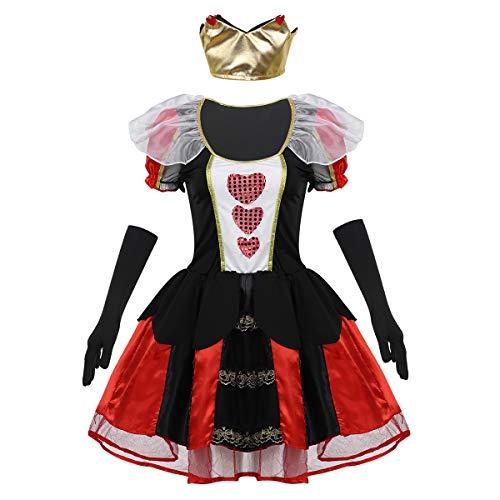 Kostüm Halloween Böse Königin - FEESHOW Frauen böse Königin Kostüm Puffärmeln Tutu Kleid mit Diadem und Handschuhen Cosplay Halloween Outfit Schwarz Large