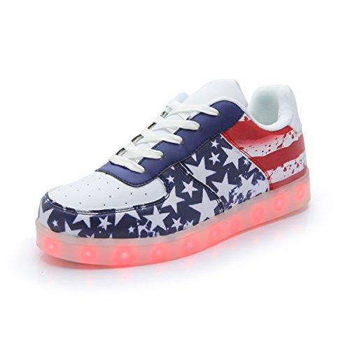 DoGeek Adulto Unisex Scarpe LED Luminosi Sneakers con Le Luci Accendono Scarpe Sportive Rosso