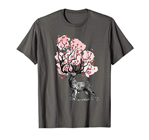Abstrakte Illustration eines Hirsches mit Blumen am Geweih.