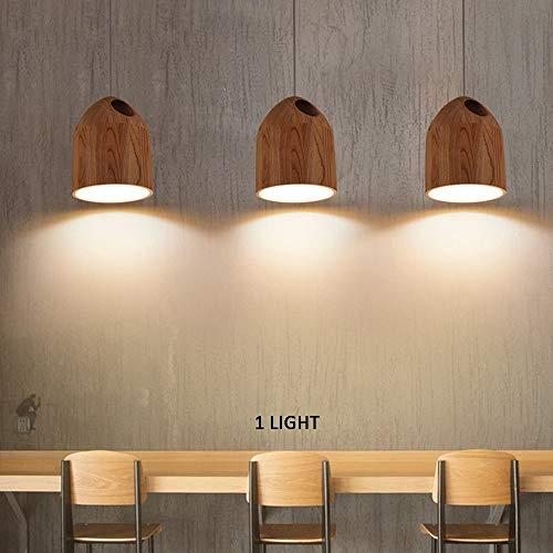 JCY Umwelt Kronleuchter, einfache hölzerne Single Head Restaurant Bar Hand geschnitzt Features Light Wood Chandelier Effizienz: A +++ -
