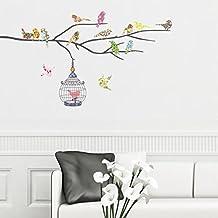 Decowall DW-1202 14 Pájaros en una Rama Vinilo Pegatinas Decorativas Adhesiva Pared Dormitorio Salón Guardería Habitación Infantiles Niños Bebés