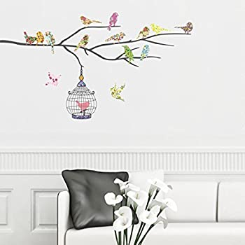 Decowall DW 1202 14 Birds On A Branch Kids Wall Stickers Wall Decals Peel  And Part 77