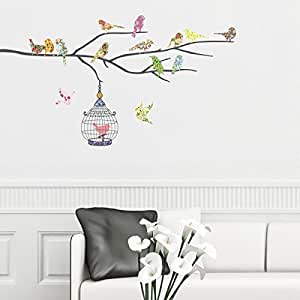 Decowall DW-1202 14 Birds on a Branch Peel and Stick Nursery Wall Stickers Decals