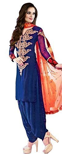 I-Brand Blue Color Georgette Fabric Embroidery Salwar - suit (Semi-Stitched) ( New Arrival Latest Best Design Beautiful Dresses Material Collection For Women and Girl Party wear Festival wear Special Function Events Wear In Low Price With High Demand Todays Special Offer and Deals with Fancy Designer and Bollywood Collection 2017 Punjabi Anarkali Chudidar Patialas Plazo pattern Suits )  available at amazon for Rs.551