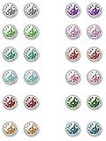 24 Ohrstecker (12 Paar) Erstohrstecker mini Stahl mit 12 Farben