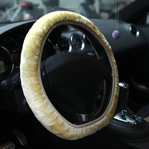 Brussels08 Souple Peluche Courte véhicule Housse de Volant Confortable Hiver Chaud Volant de Voiture Protector Wrap Housse Universel pour 38,1 cm/35-40 cm de diamètre Auto SUV Camion de véhicules