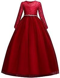 Miyanuby Vestido de Princesa, Chica Encaje Manga Larga Decoradas Vestido de Fiesta Largo/Niños