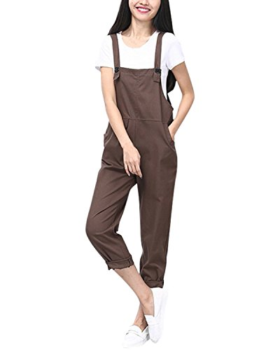 StyleDome Women's Retro Dungarees Casual Baggy Jumpsuit Loose Sleeveless Trousers Pants Adjustable Long Playsuit Overalls