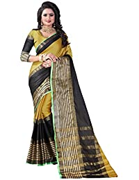Vastrang Women's Cotton Silk Saree With Blouse Piece(A111_Yellow Black_Free Size)