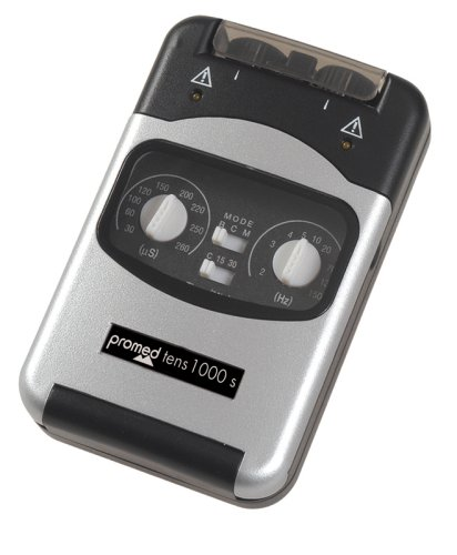 Promed TENS 1000 S Tens Gerät, elektrisches Schmerztherapiegerät mit 4 Tens Elektroden für Nervenstimulation, Elektrostimulationsgerät, Digitales Reizstromgerät für Schmerzlinderung und Entspannung