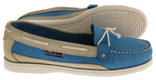 Seafarer 7200L Cuir Moccasin Chaussures Bateau Femmes Bleu & Beige