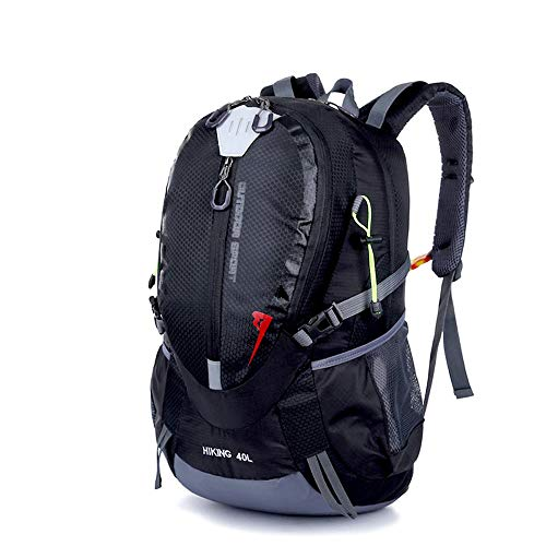 NY-close Multifunktions-Wanderrucksack, wasserdichter Nylon-Reiserucksack, Wanderrucksack mit großer Kapazität 40L, Verstellbarer Schultergurt, professioneller Outdoor-Wanderrucksack (Color : Black)